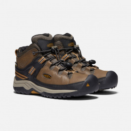 Ботинки детские KEEN Targhee Mid WP Y | Dark Earth/Golden Brown | Вид 1