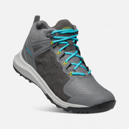 Ботинки женские KEEN Explore Mid WP W | Steel Grey/Bright Turquoise | Вид 1